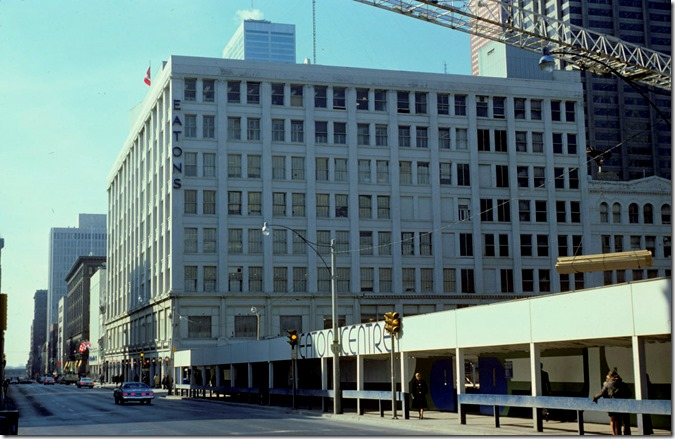 View of construction site and Eaton's Queen Street store – April 16, 1975