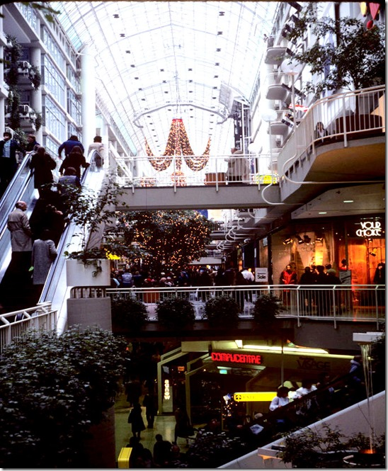 View of Eaton Centre with holiday decorations towards Queen Street – December 15, 1981