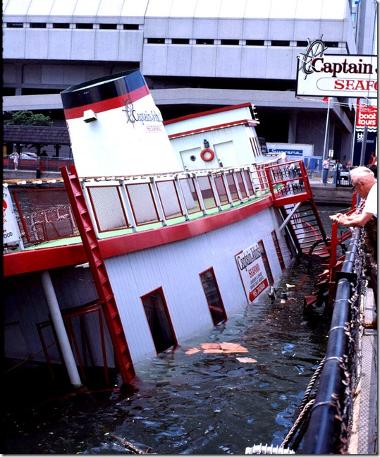 View of damaged Captain John's ship, June 17, 1981