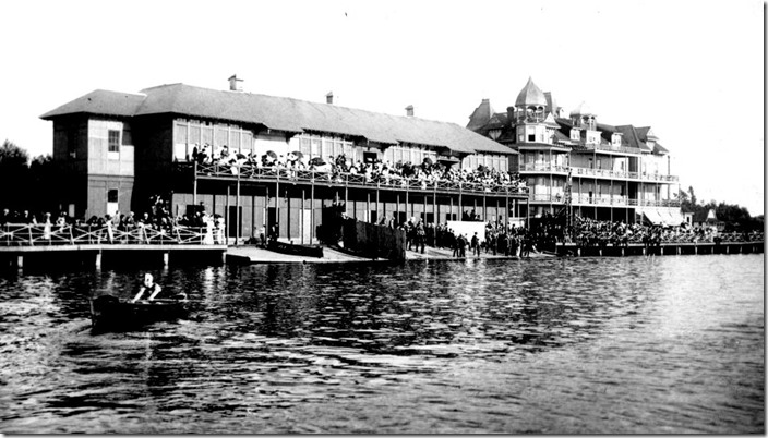 Hanlan Hotel, a four storey frame building bought from Edward Hanlan by the Toronto Ferry Company, destroyed in the fire which swept Hanlan's Point on August 10, 1909 – January 1, 1908