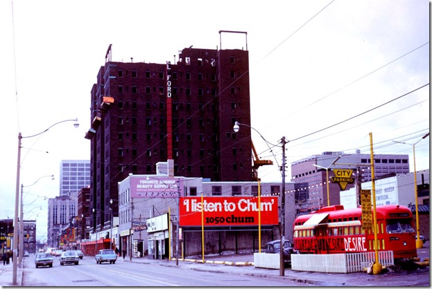 Ford Hotel - under demolition - view west on Dundas at Yonge – January 27, 1974