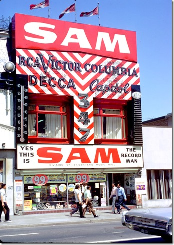 View of Sam the Record Man on Yonge Street – June 23, 1971