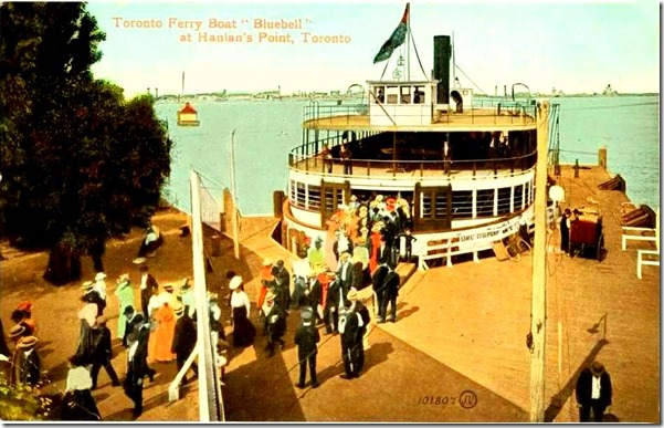 Chuckman's POSTCARD - TORONTO - HANLAN'S POINT - FERRY BLUEBELL - CROWD OF PASSENGERS - NICE VERSION - 1909[1]