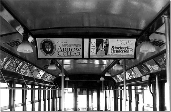 Interior, centre double wood frame sign board, (wide) – April 25, 1924