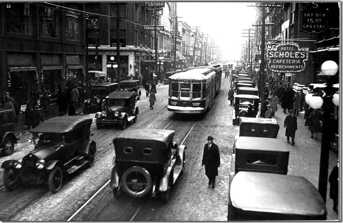 Yonge Street, looking north, from north of Queen, noon hour traffic – December 24, 1924