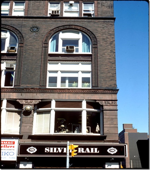 View of apartments above the Silver Rail on Yonge Street at Shuter – May 11, 1977