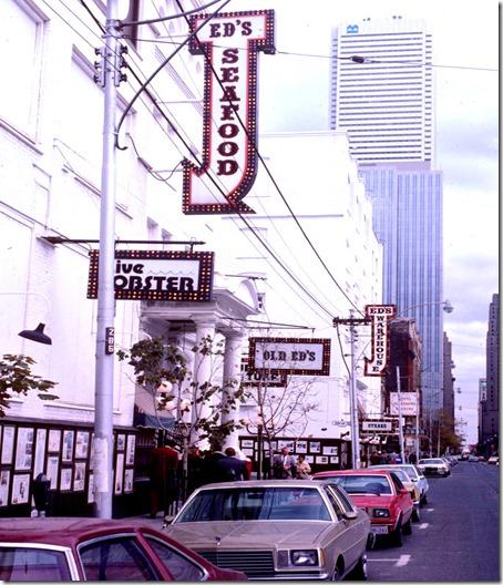 """King St W, east across Duncan - """"Ed's Warehouse"""" – October 9, 1981"""