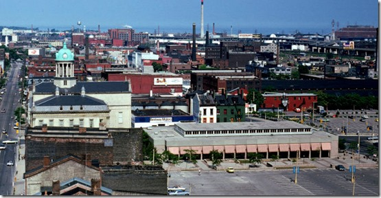 Overhead view of the rear of St. Lawrence Market, from the King Edward Hotel – July 6, 1974