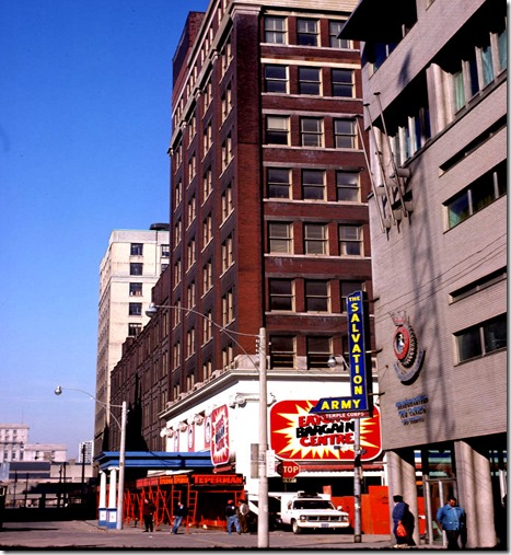 View of Eaton's Bargain store and Salvation Army on Albert Street west of Yonge Street – April 11, 1977