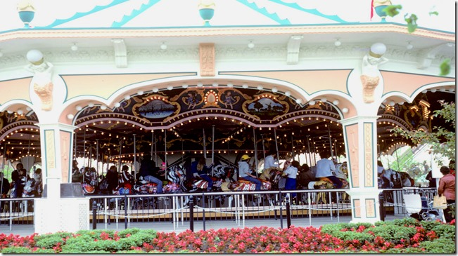 View of carousel and surrounding flower beds at Canada's Wonderland – June 8, 1981
