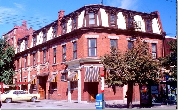 Queen St W., northeast corner at Soho St – September 27, 1981