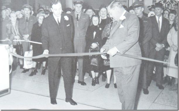 John D Eaton cuts ribbon, Feb 1964.  DSCN2217