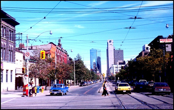 View of Queen Street West, looking east at Spadina Avenue – September 27, 1981